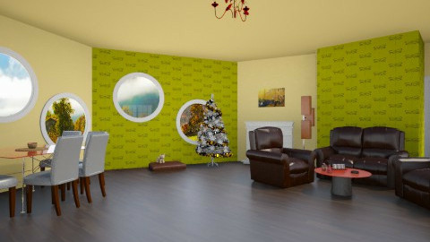 brown living dinning room - Modern - Living room - by Sotiria Oups