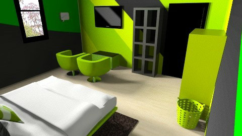 Lime Green - Masculine - Bedroom - by shelbyboyko