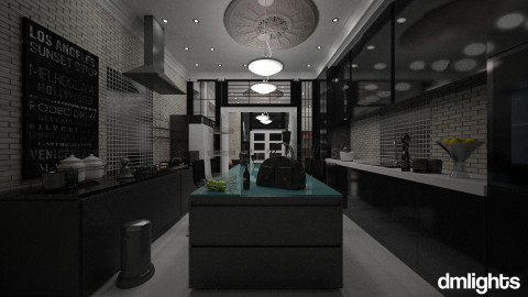 black kitchen with stone - Eclectic - Kitchen - by DMLights-user-982918