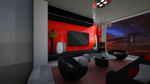 Black And Red Living Room - Modern - Living room - by FabulousGirl35