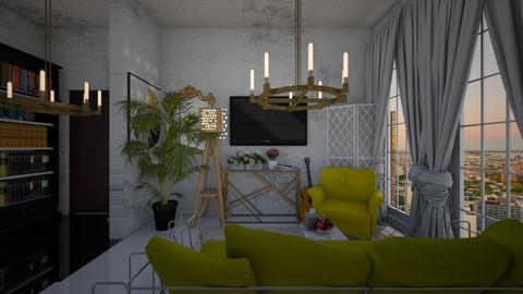 nyc yellow apartment - Living room - by cguy67