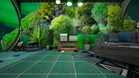 GreenCatRoom - Classic - Bedroom - by lori gilluly