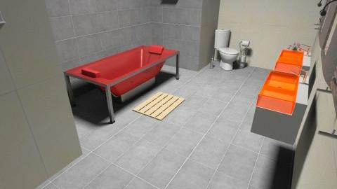 red bathroom - Bathroom - by danielle87terry87