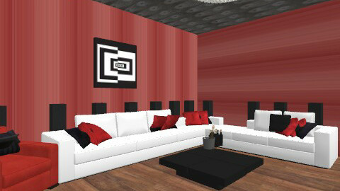 Red, Black and white room! - Modern - Living room - by matthew thompson