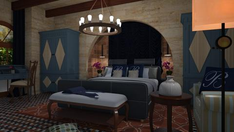 Blue  and orange - Bedroom - by chania