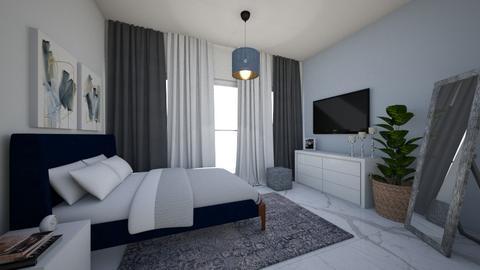 Blue bedroom - Bedroom - by DomiMat