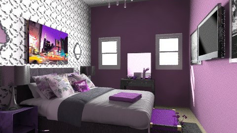 Purple - Vintage - Bedroom - by AubriG88