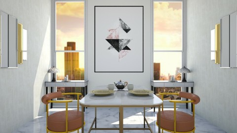 Deco symmetrical dining  - Glamour - Dining room - by evemorgan96