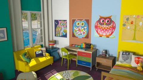 owl town - Retro - Kids room - by Andrea_