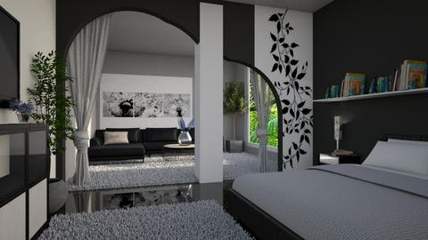 black and white bedroom - by ilcsi1860