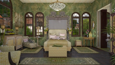 Design 316 Green and Gold Bedroom - by Daisy320