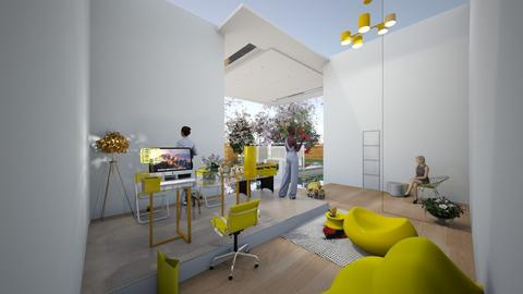 yellow home office  - Office - by AngieDrws