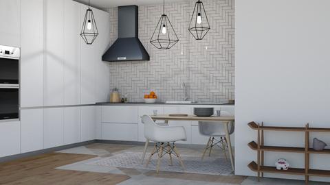 white - Modern - Kitchen - by NEVERQUITDESIGNIT
