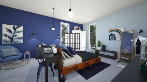 Blue bedroom - Bedroom - by leenvandesande