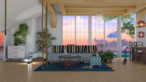 Coast House - Living room - by elephant in savanna