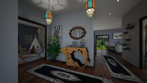 boho living room  - by PoukInteriors