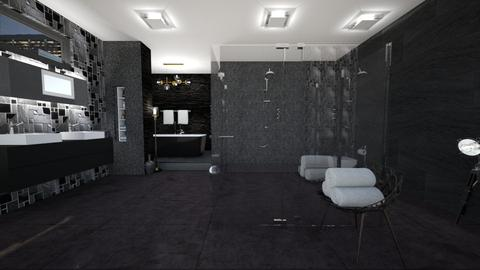 dark grey bathroom - Bathroom - by Moonpearl
