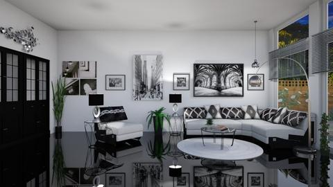 Black white and shiny - Living room - by Kelly Carter