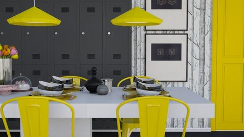 Yellow White Black Dining - Modern - Dining room - by HenkRetro1960