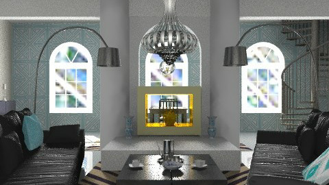 Black and blue - Minimal - Living room - by mrschicken