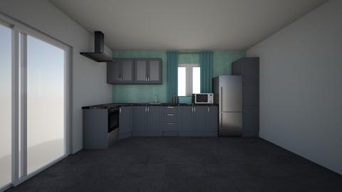 grey turqoise kitchen - Kitchen - by Euthymia