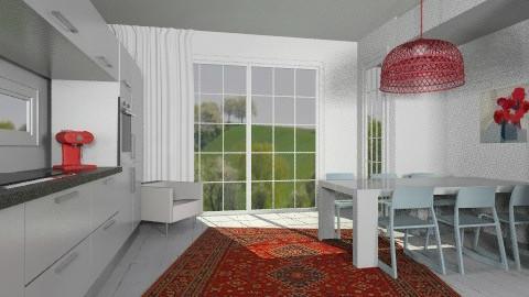 red - Retro - Kitchen - by amandafern