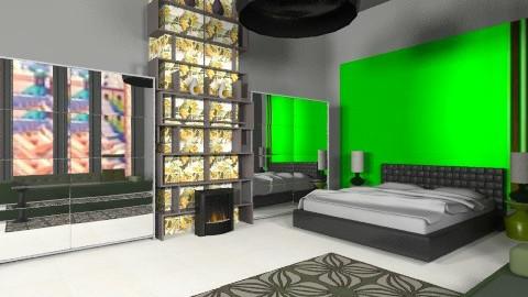Green and black - Minimal - Bedroom - by mrschicken