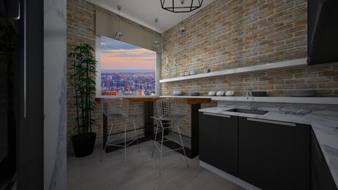 Black and White kitchen - by Cristina Mazilu