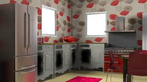 Red Kitchen, - Classic - Kitchen - by christinam95