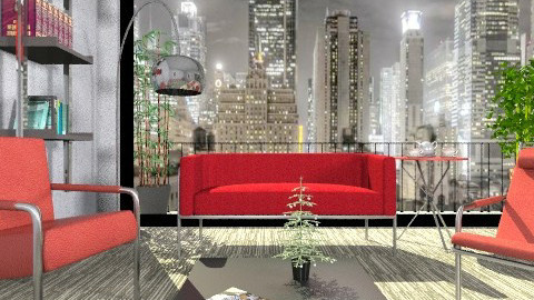 Red - Minimal - Living room - by milyca8