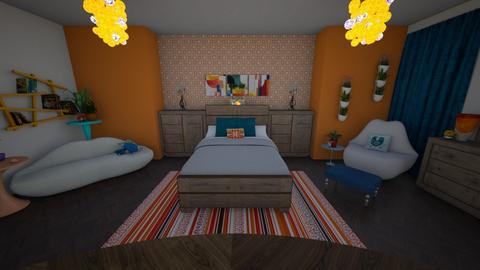 Orange B Bedroom - by June Thomas