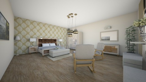 leaf pattern bedroom - by ana0000