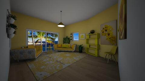 Hawiien Party_ yellow - Living room - by DobbyThePuppy