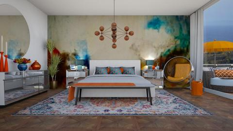 Orange Blue BDRM - Bedroom - by erstudio