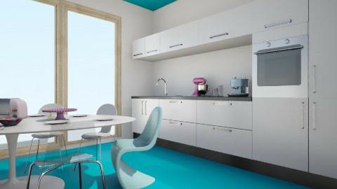 blue half white layout - Kitchen - by melbapink8