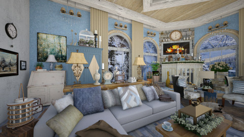 Mountain Lake Retreat 2 - Rustic - Living room - by dZynerSuPreme