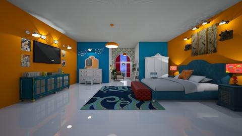 orange blue bedroom - by Spencer Reid