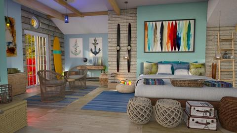 surf culture bedroom - by Moonpearl