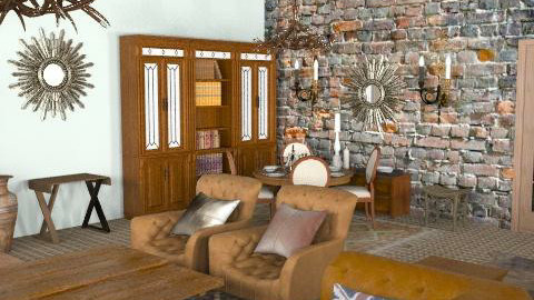 Logcabin4 - Rustic - Living room - by camilla_saurus