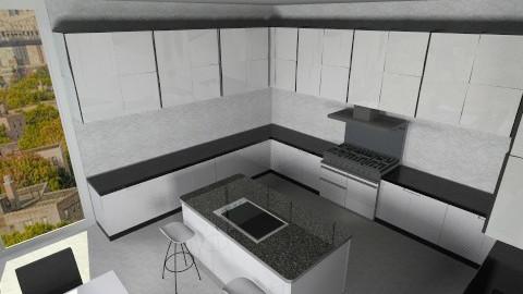 Black n White Kitchen - Modern - Kitchen - by Jacquie Ru