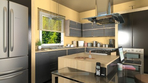 Wood and Glossy Black - Modern - Kitchen - by ShaeAdams