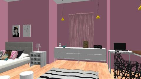 Pink! Student flat - Feminine - Bedroom - by Kaarina
