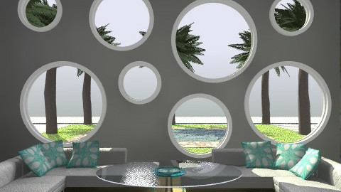 Chilin' Bubble Blue 1 - Retro - Living room - by juhaszrena