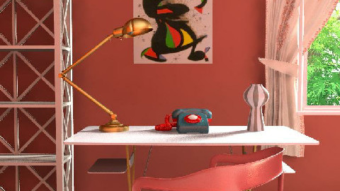 Red eclectic mid century office - Eclectic - Office - by Mieke ten Have