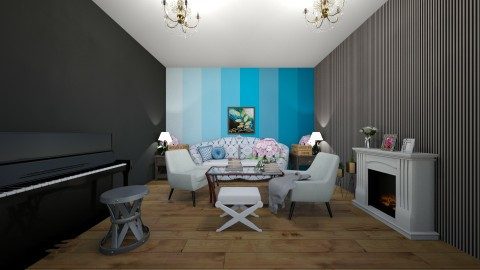 Striped living room - by Anaherawalkerxoxo
