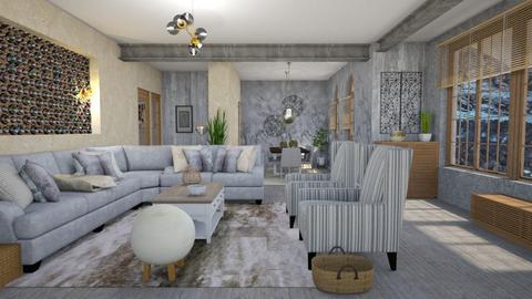 grayish steel - Living room - by Moonpearl