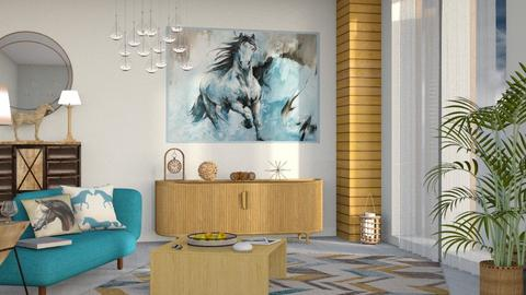 M_Blue horse - Living room - by milyca8