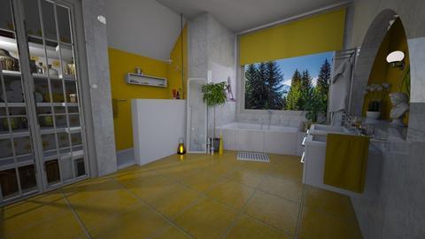 yellow marble bath - Modern - Bathroom - by donella