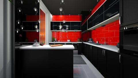 Black And Red Kitchen - Modern - Kitchen - by FabulousGirl35