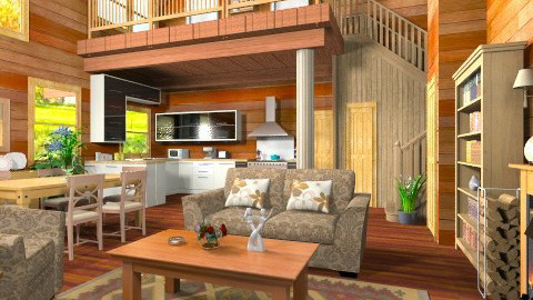4 Seasons Log House - Rustic - Living room - by Bibiche